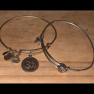 2 Alex and Ani Ohm Slide and Bangle Bracelets